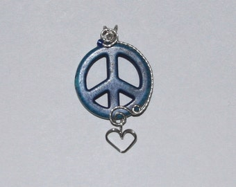 Turquoise Blue Howlite Peace Symbol Sterling Silver Wire