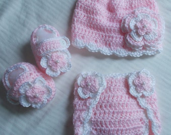 Baby Girl Infant Girl Crochet Hat Beanie Booties Diaper Cover Baby Shower Gift Photo Prop 10002 MADE TO ORDER