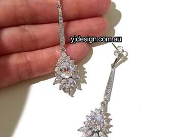 Gatsby Wedding Earrings, Art Deco Bridal Earrings, Silver Dangle Earrings, Cz Drop Bridal Jewelry, Cubic Zirconia Wedding Jewelry, TASHA