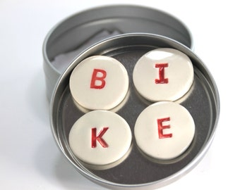 Red or Blue Round Handmade BIKE Magnets in Gift Tin, Stocking Stuffer