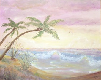 Beach painting, Pastel colored peaceful ocean, seascape, Beachcomber series /9, 16x20 Original Acrylic Painting, large ocean painting.