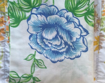 Bright floral vintage pillowcase, blue red yellow pillowcase