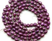 "Freshwater Pearls Purple Faceted, 2 Full 16"" Strands, Round & Oblong, Destash Lot"