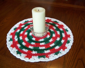SALE - Christmas Mandala, For Table Top, Centerpiece, Red, Green & White, Crocheted Cotton Yarn, Table Runner, Table Topper, Doily