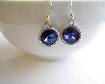 SALE, Swarovski Crystal Earrings, Violet Heliotrope Crystal Rivoli Earrings, Sterling Silver Earrings, Gift Ready To Ship