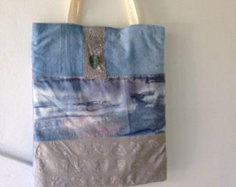 Tote bag, cotton batik waterfall tie dye, leaf accent, blue gray handbag, indie hipster Bohemian Bag, wearable art boho purse Lhasa i824