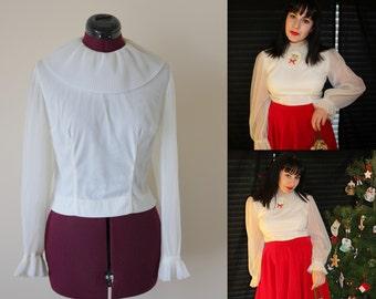 1960s white nylon pierrot collar balloon sleeve blouse