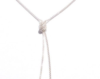Silver Plated Elogated Knot Chain And Rectangle Aqua Gemstones SALE WAS 24.97 now 19.99