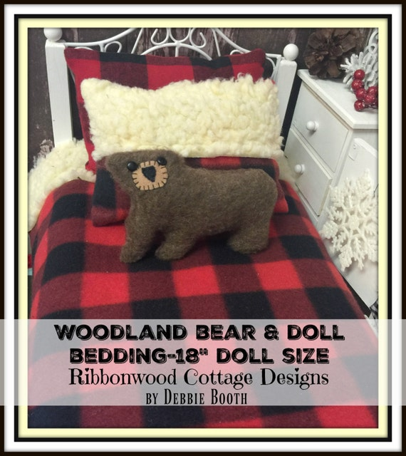 """Sewing Pattern-Woodland Bear and Doll Bedding-18"""" American Girl Doll Bedding size PDF"""