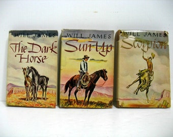 Vintage Lot of Will James Western Books Sun Up Scorpion The Dark Horse HB w/ DJ 1st Ed.