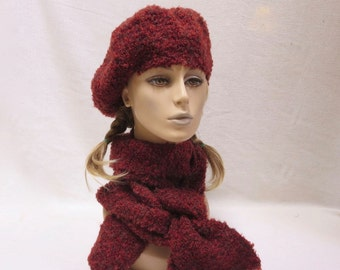 Hand Knit Scarf and Crochet Beret/Hat Set - Free Shipping in US
