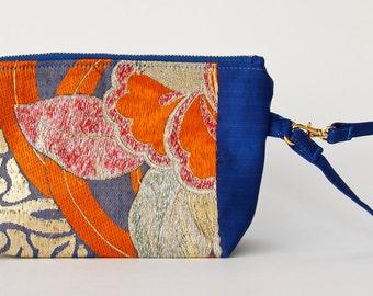Vintage Upcycle Japanese Obi, Wristlet, Clutch, Obi bag, blue, orange, gold, silk, evening bag