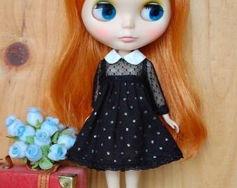 Blythe bare dotted dot dress....black