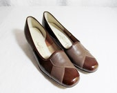 SALE Vintage Two Tone Brown Shoes Leather Pumps  Low Heel 1960s Never Worn. 7.5 7 1/2 (was 35)