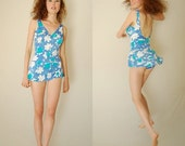 sale 25% off 3 days only Retro Playsuit Vintage 60s Periwinkle Floral Retro Pin Up One Piece Swimsuit Playsuit (s m)