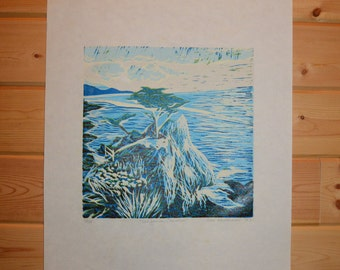 California Coast Linoleum Cut Print, Linocut, Home Decor, Fine Art Print, Block Print
