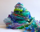mermaid garden fringe effects™ fiber art yarn bundle 26yd ribbons handspun wool imported yarns aqua turquoise lavender green mixed fiber kit