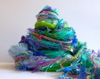 mermaid garden fringe effects™ fiber art yarn bundle 26yd ribbons handspun wool imported yarns aqua turquoise lavender green mixed fiber kit