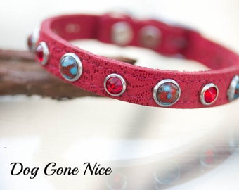 Leather Dog Collar//Red Leather Collar//Small Pet Collar//Pet Collar// 1/2 inch Leather Collar//Jeweled Dog Collar