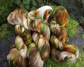 Handpainted sock yarn, fingering yarn, Superwash Merino yarn 100 grams-Forest Owl