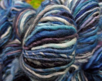 Handspun yarn, handpainted wool yarn, Falkland wool worsted weight  thick and thin multiple skeins available Bumbleberry