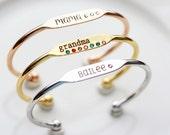 Engraved Birthstone Bracelet - Silver Gold Rose Gold Engraved Birthstone Bracelet Personalized Bridesmaid Gift Engraved Name Bracelet
