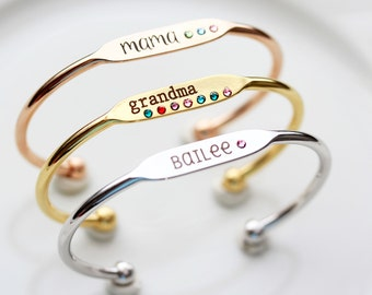 Engraved Birthstone Bracelet - Personalized Mother's Day Gift, Personalized Bridesmaid Gift Engraved Birthstone Bracelet Name Bracelet Gold