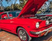 1966 Ford Mustang GT Convertible in Signalflare Red Fine Art Print- Car Art, Antique Car, Home Decor, Wall Art, Vintage Car