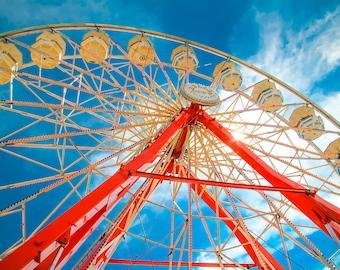 Red & White Ferris Wheel Fine Art Print- Carnival Art, County Fair, Nursery Decor, HomeDecor, Children, Baby, Kids