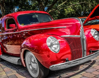 Ford De Luxe Car Photography, Automotive, Auto Dealer, Muscle, Sports Car, Mechanic, Boys Room, Garage, Dealership Art