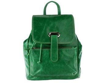 Green leather backpack/rucksack/women backpack/purse/diaper bag/drawstring bag/ PLE/artoncrafts