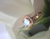 Reserved for Jamesrhodefer:  Balance Listing, Blue Sheen Moonstone Engagement Ring, Moonstone and Diamond E Ring in 18k Rose Gold, RESERVED