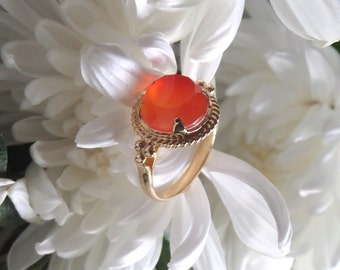 Carnelian Ring, Quora, Etruscan-Inspired Ring in 18k Yellow Gold and Natural Carnelian Ring - Ready to Ship