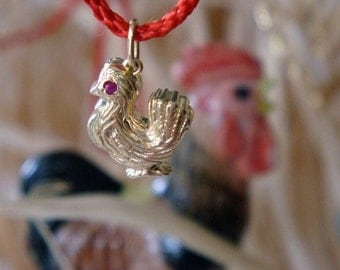 Hen Pendant, Solid Gold Hen with Ruby Eye (Pendant or Charm), Made to Order