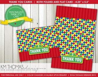 Sesame Street Inspired Thank You Cards - Printable Thank You Cards - Flat and Folded Thank You Cards - Boy or Girl - 106