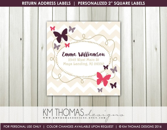 printable return address labels girl butterfly return address