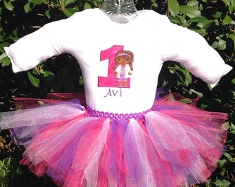 Doc McStuffins First Birthday Tutu Onesie Outfit in Pink and Purple
