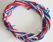 T Shirt Scarf - Infinity Circle Scarves Recycled Cotton - Royal Blue Red White Gray Grey Silver America USA Flag Olympics Casual Necklace
