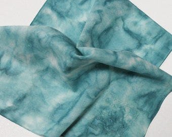 Hand Dyed Handkerchief - Vintage Cotton Ladies Hankie - Something Blue Old Bridal Bride Shower Wedding Monogrammed H Muted Aqua Powder Denim