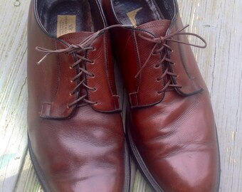 Vintage STUART MCGUIRE OXFORDS Textured Leather derby Mens Shoes Reddish Brown Size 13