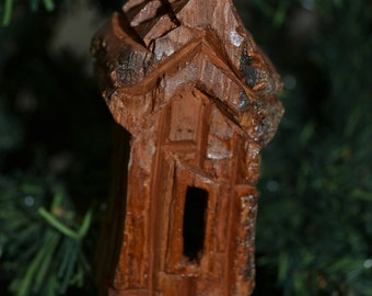 Handmade Christmas Ornament, Cottonwood Bark Carving, Whimsical House, Cottage, Fairy House, Gnome Home, Hand Carved 1041