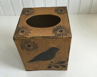 Paper Mache Vintage Mustard Bird Tissue Box