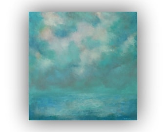 Turquoise and Blue Abstract Seascape- 24 x 24 Ocean Sky and Clouds Oil Painting- Original Palette Knife Art on Canvas