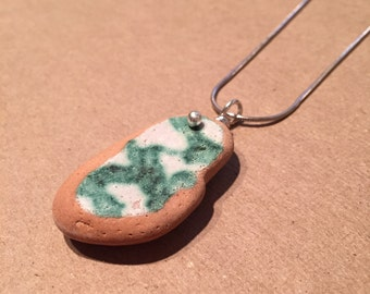 Emerald Green and White Sea Pottery Necklace - Sterling Silver - Natural, Decorative Ocean Pottery from Amalfi Coast - OOAK