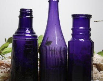 PURPLE BOTTLE Lot - Amethyst Antique Bottles- Curtice Brothers Rochester NY- Large Bottles- Durkee New York B-07