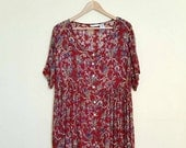 Reality Bites - Large Deep Red, Floral Broomstick Grunge Dress, a Hippie's Dream Com-fort True