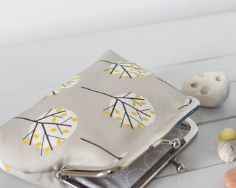 STUDIO SALE Stone Grey Purse in Moonlight Tree fabric large coin money purse