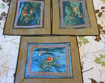 3 EMBROIDERED Blue SATIN BLOCKS Colorful Asian Geo Designs, Bird Butterfly Flowers Old China Silk Embroidery Quilt Pillow Purse Frame Unused
