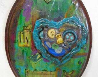 Fly Dance Play Mixed Media Folk Art Collage Owl Birds Blue Brown Recycled Reclaimed