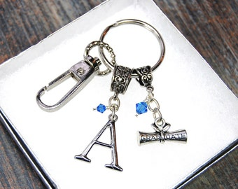 For The Graduate - Custom Made Initial And Birthstone Keychain - Gift Box Included